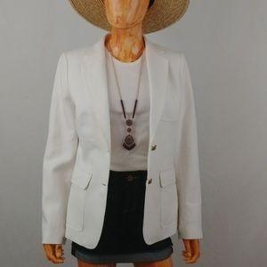 J. CREW   white linen 2 button front casual blazer